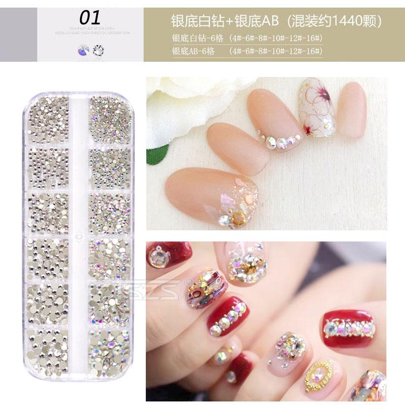 TSZS super quality 1440pcs box packing 3D shiny flat back glass accessories crystal 2020 nail art decoration