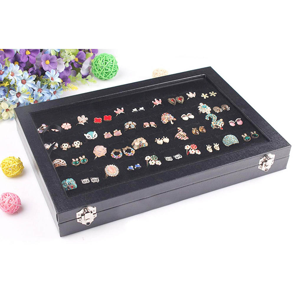 jewelry display engagement ring tray box organizer with lid for gift 100 slot ring box Black Velvet