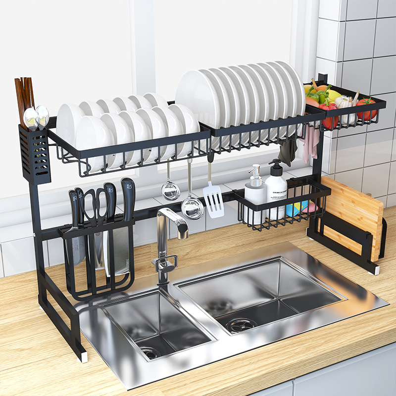 Wholesale Kitchen Racks and Holders Over Sink Dish Drying Rack with Large Capacity Folding Rack for Kitchen organization