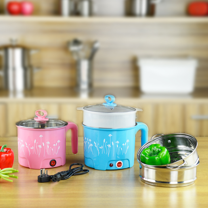 Hot design colorful plastic surface hot pot stainless steel electric mini rice cooker