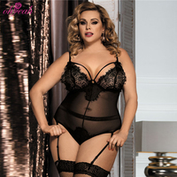 Factory in stock sexy adult plus size garter eyelash lace lingerie