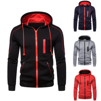 High Quality Men Winter Slim Fit Solid Zipper Slim Fit Hoodies Jacket With Hood