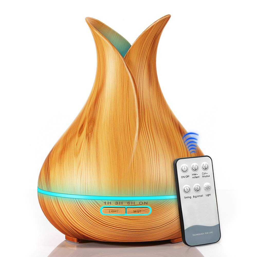 400ml Remote Control Aroma Essential Oil Diffuser Ultrasonic Air Humidifier with Wood <strong>Grain</strong> 7 Color Changing LED Lights