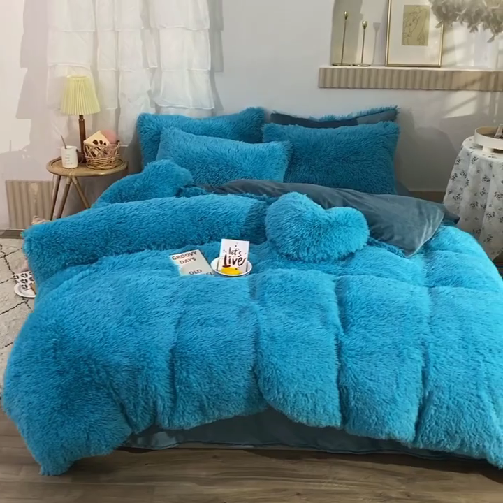 Boho Off Fuzzy Faux Fur Plush Duvet Comforter Cover Soft Shaggy Fluffy Full/Queen Size Bedding Set