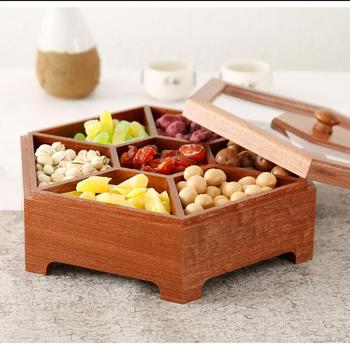 Wooden multiple checked candy boxes dried fruit snack desktop storage box