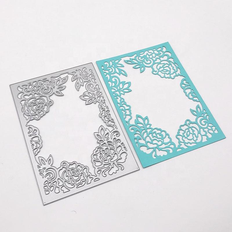 Venta al por mayor flor marco corte muere de Metal de acero al carbono de corte muere Scrapbooking decorativo tarjetas de papel de plantilla