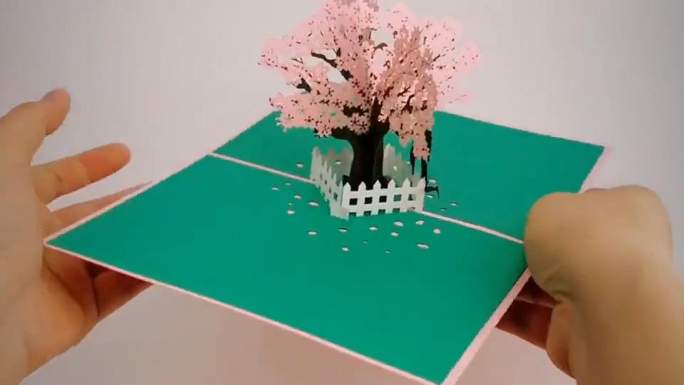 桜の木の結婚式の招待状ポップアップカードバレンタインデーギフトカード
