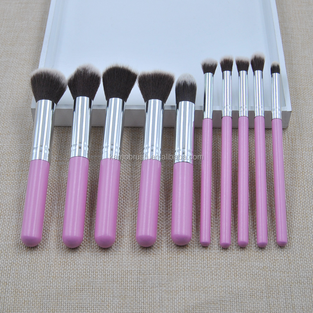 Affordable popular 10pcs makeup brushes foundation pink kabuki makeup brushes set