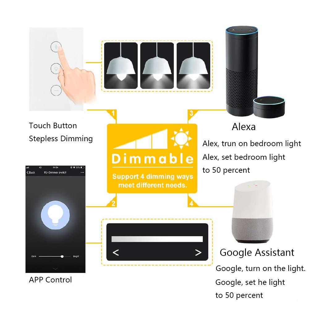 Uni Eropa/AS Alexa Google Assistant Pengatur Waktu Suara Pengendali Jarak Jauh Lampu WiFi Pintar Sakelar Peredup untuk Lampu Langit-langit Di Mana Saja