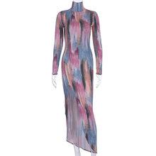 Женское длинное платье с высоким разрезом Echoine, длинное платье-водолазка с принтом в виде галстука-красителя, Клубное вечернее платье знаме...(Китай)
