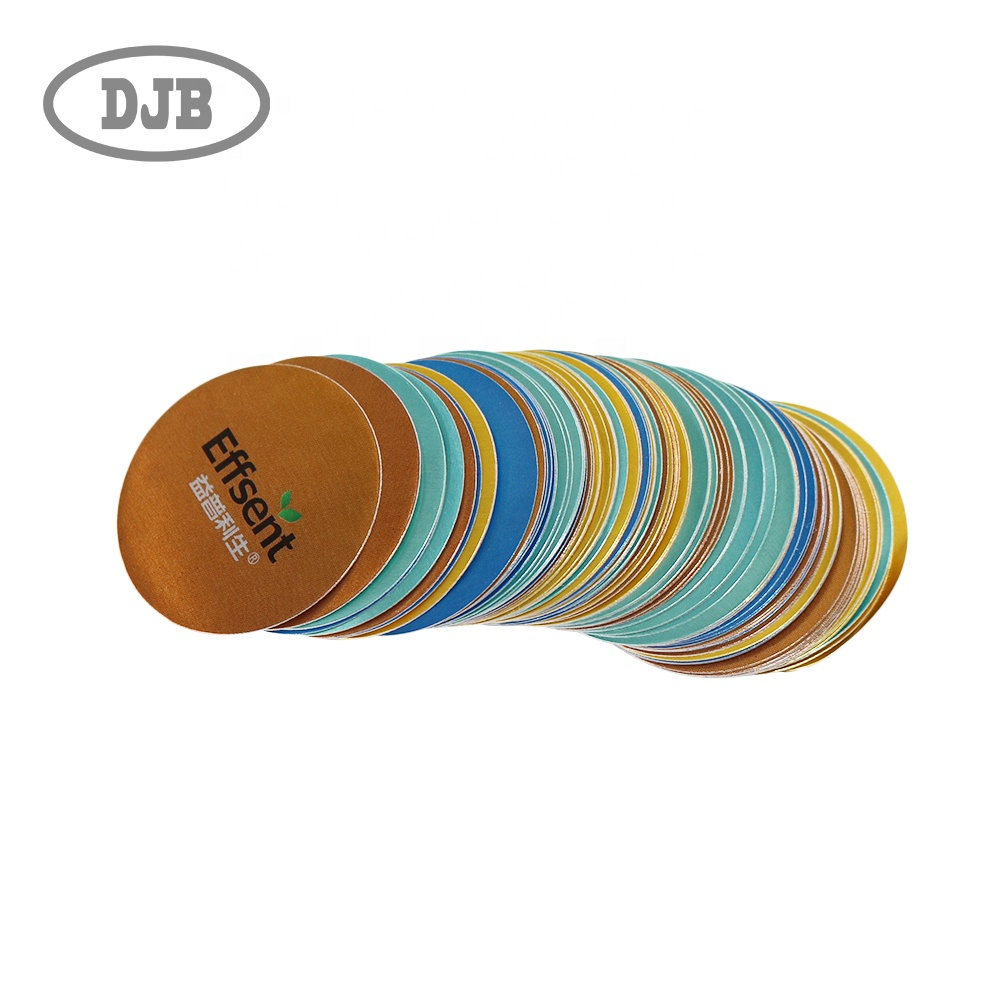 Metal effect round label sticker, glossy circle label, bottle cap cover label