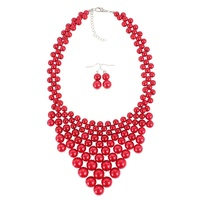 INFANTA JEWELRY Afghan Jewelry Multi Colors Chunky Statement Layered Necklace Women Bib Collar Choker Pearl Necklace
