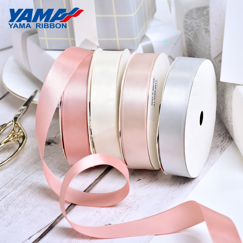 YAMA Factory Large Stocked Polyester Solid Color 3-100MM Single/Double Faced Satin Ribbon