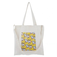 Organic cotton shopping bags pocket grocery tote bags with custom printed logo
