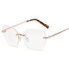 SHINELOT Ladies Tops Latest Design Rimless Optical Frames Women Eyeglass Frame Glasses China Oem
