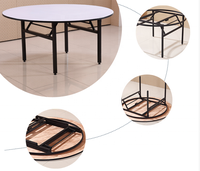 Round MDF wood folding banquet dining table