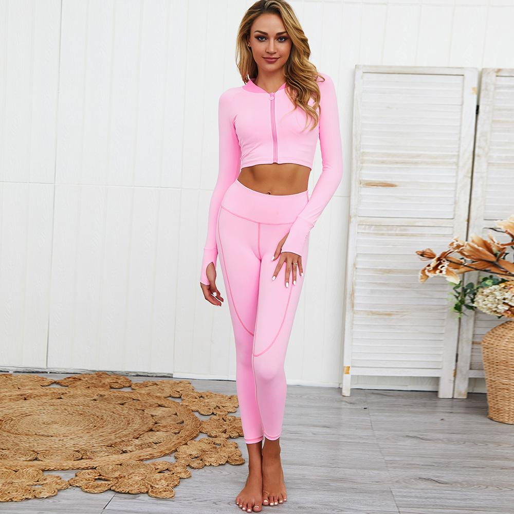 Wholesale New Fashion Long Sleeve Sports Shirt With Zipper Butt Lifter Leggings Yoga Gym Wear Set 6