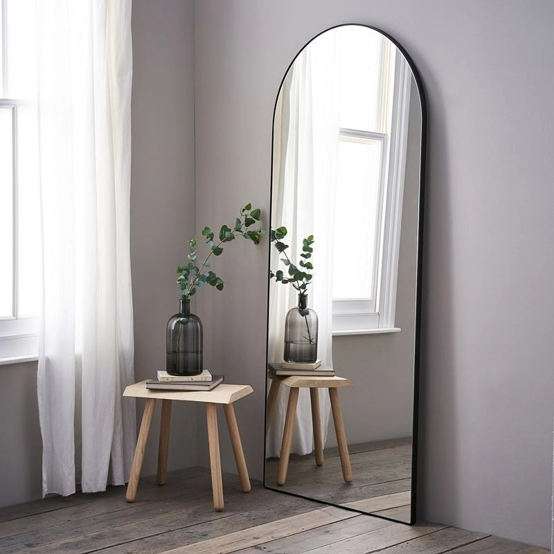 Modern arch full floor body window arched mirror with metal frame door living room home furniture decor