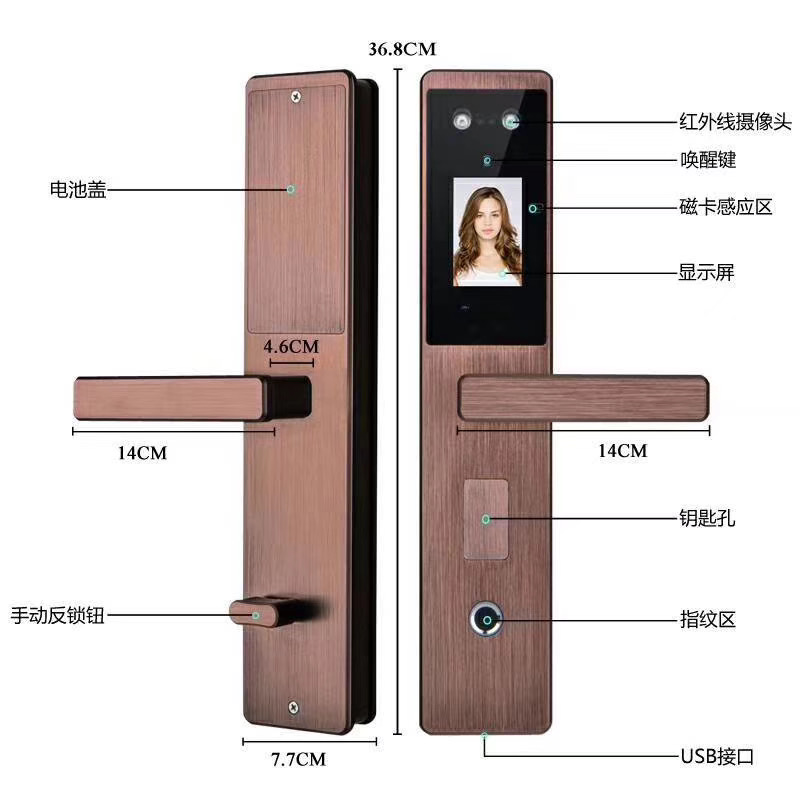 Automatic Digital Wifi Smart Face Recognition Door Lock with Tuya APP