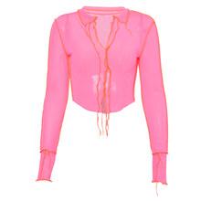 Женский сетчатый топ Kliou, неоновый, розовый, с треугольным вырезом, с длинным рукавом, в стиле пэчворк, модные, вечерние, Клубные, 2020(Китай)