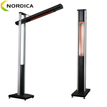 Standing electric patio heater for outdoor 1800W Carbon fibre heating tubes give out pure infrared heat
