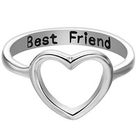 Amazon Letter Best Friends Friendship Rings Hollow Heart Shape Engagement Rings for Women Girls Promise Wedding Rings