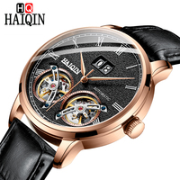 HAIQN Men Wrist Double Tourbillon watch men luxury brand automatic Wristwatches Mechanical Watches