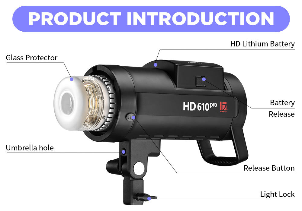 JINBEI HD-610 Pro TLL Kit F Version  600W Outdoor Battery Flash Light HSS TTL Battery Powered Studio