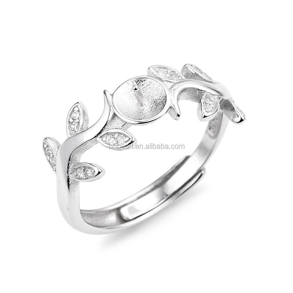 SSR181 Leaves Ring Zirconia 925 Sterling Silver DIY Settings Ring Base Blank