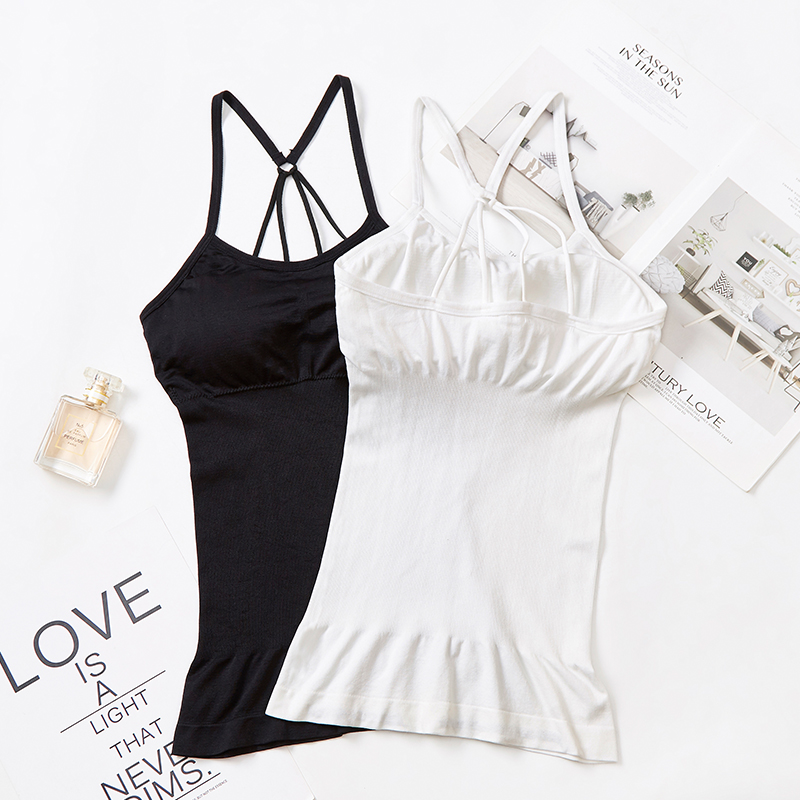 Long Beautiful Back Suspender Sweat Absorbing Comfortable Air Permeable vest built in bra seamless stretch camisole