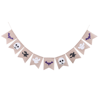 Pafu Halloween Party Supplies Jute Burlap Banner Garland with Witch Skulls Ghost Bats Halloween Party Hanging decorations