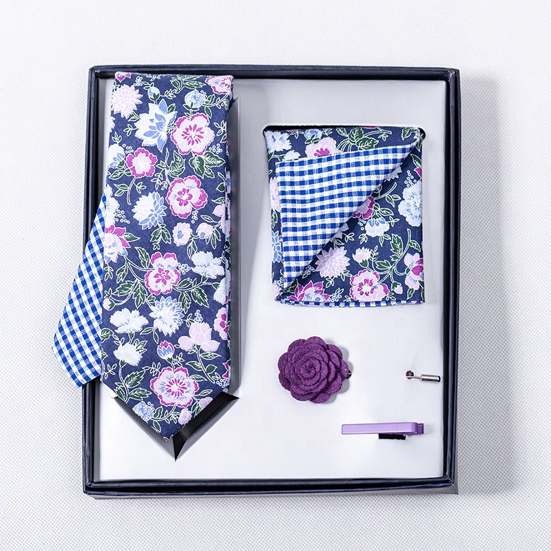 Wholesale Mens <strong>Blue</strong> <strong>Flower</strong> With Small Plaid Necktie Bowtie Pocket Square Sets Wedding <strong>Tie</strong> Gift Box Set