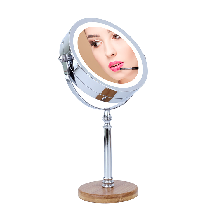 Wholesale 360 degree rotation wooden LED stand magnifying vanity table desktop bathroom makeup mirror with LED lights