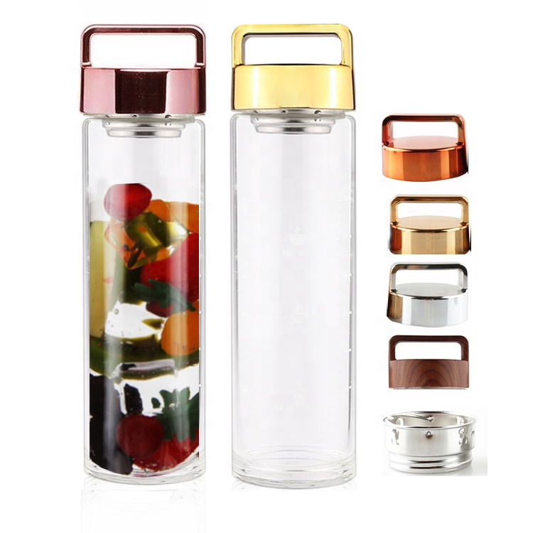 Hot New Products Leakproof BPA Free Loose Leaf Tea &amp; Fruit Infuser Double Insulated Glass Tea <strong>Bottle</strong> with Tea Strainer