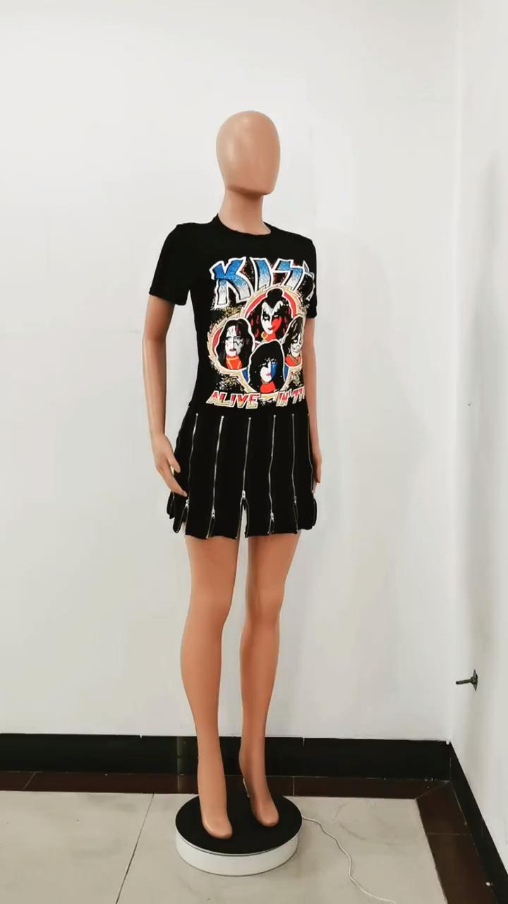 In Phong Cách Phim Hoạt Hình Dây Kéo Mini Dress Phụ Nữ Của Mùa Hè Phong Cách Mới 2020 Đảng Clubwear Ăn Mặc Giản Dị