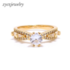 Manufacture high quality zircon brass 18k gold jewelry CZ rings