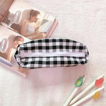Kawaii пенал, клетчатый чехол-карандаш, простая Студенческая сумка для канцелярских принадлежностей, сумка для хранения, ретро пенал для хране...(Китай)
