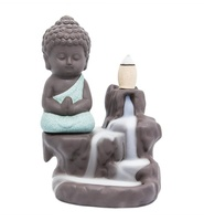 Custom Incense Burner Back flow Tower Cones Sticks Holder Ceramic Porcelain Buddha Monk
