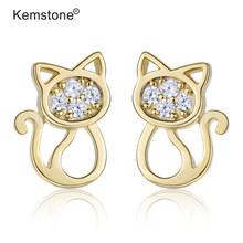 Женские серьги-гвоздики Kemstone, милый золотой цвет, кубический маленький кот, ювелирный подарок(Китай)