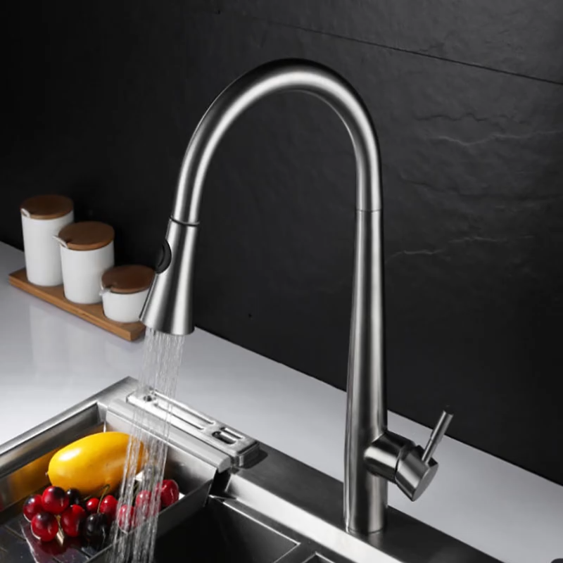 Amazon Hot Sales Kitchen Sink Tap Cold and Hot Water Nickel Brushed Kitchen Mixer Satin Finish Pull Out Kitchen Sink Faucet