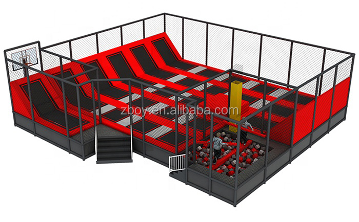 Kids Professional Popular Jumping Bed Trampoline Park With Foam Pit Block