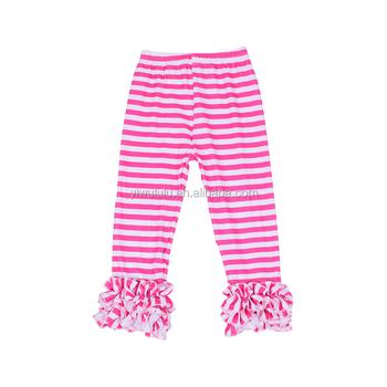 Wholesale Baby Girls Icing Ruffle Pants Pink Stripe Boutique Baby Leggings