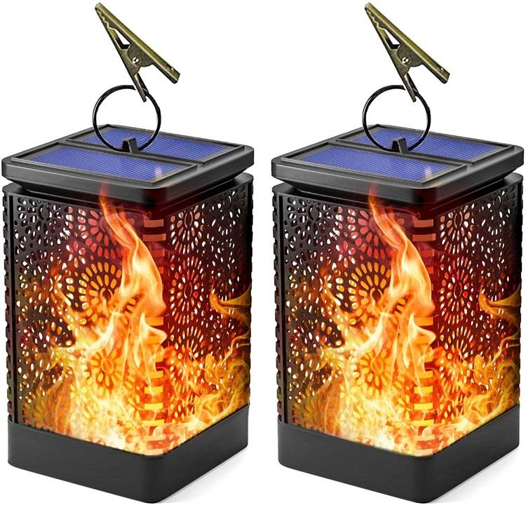 Hängen metall solar licht Tanzen Flammen Landschaft Dekoration Beleuchtung Morgens bis Abends Auto Auf/Off Outd