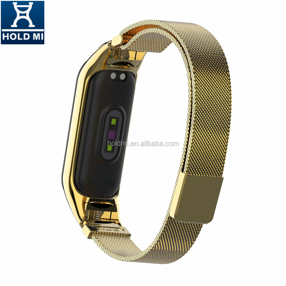 ODM holdmi new 43036 series 18k gold color replacement milanese loop for xiaomi band 4 & 3