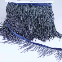 2019 NEW DESIGN Navy beaded fringe Heavy hand beaded trim fringe lace Long fringe for dress decoration
