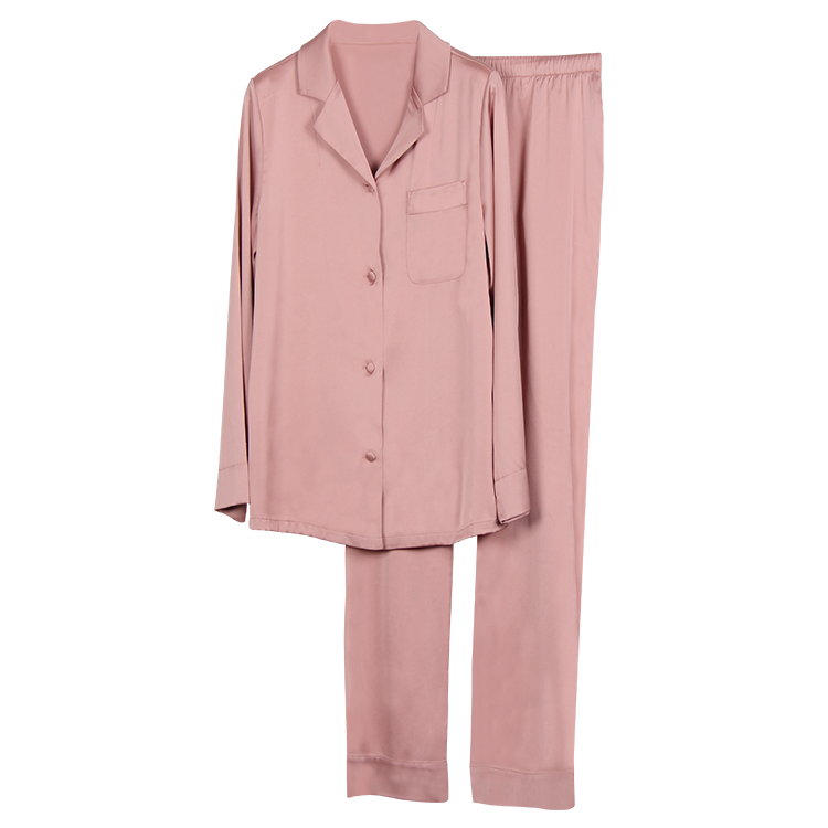 wholesale 2 colors women satin pajama set long sleeve fashion silk pajamas women