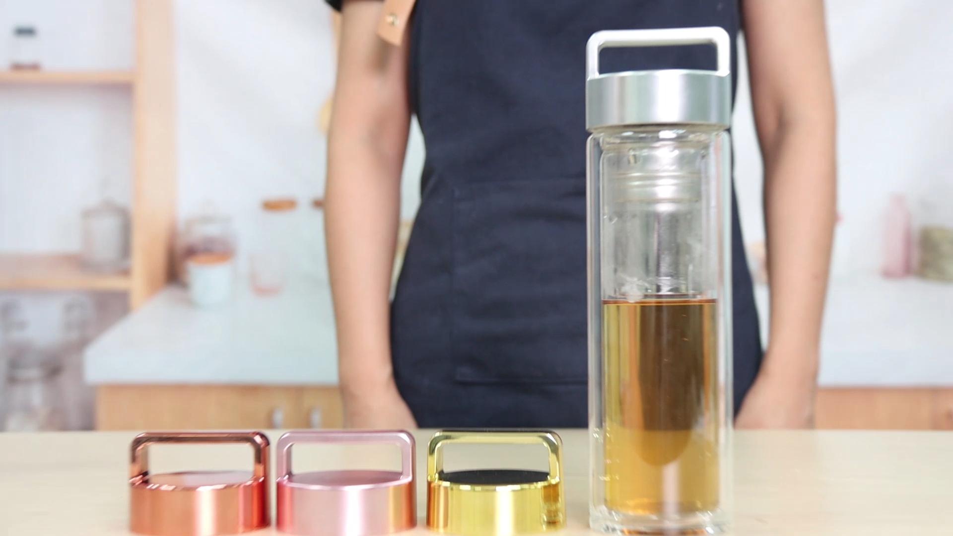 Amazon Vendita Calda BPA LIBERA Personalizzato Doppia Parete GlassTea Bicchiere Bottiglia di Tè con Tè Infuser del Setaccio per Sciolto Foglia di Tè Caffè
