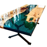 Wooden slab table top river dining table solid wood clear epoxy resin table