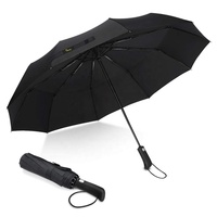 Travel Umbrella Windproof 10 Ribs Automatic Compact Folding Umbrellas with Teflon-Coating and Anti-Slip Handle for Men and Women