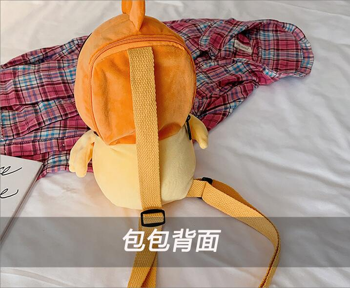 New factory wholesale design duck plush bag child cute gift plush yellow duck bagpack super  soft plush shoulder bag doll